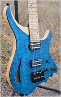 Headless Gitarre steinberger stil Modell Lila blau farbe 6mm Flamme maple top und Neck vorrätig Gitarre freies verschiffen