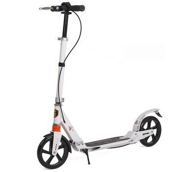 Patinete plegable para Adulto, Scooter con doble absorción de impacto, altura ajustable, pata y freno de mano, Scooter para Adulto