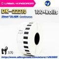 100 рулонов  совместимых DK-22210 этикеткой 29 мм * 30 48 м  непрерывная Совместимость для принтера этикеток Brother  белая бумага DK2210