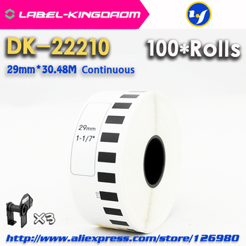 100 Refill Rolls Compatible DK-22210 Label 29mm*30.48M Continuous Compatible for Brother Label Printer White Paper DK2210