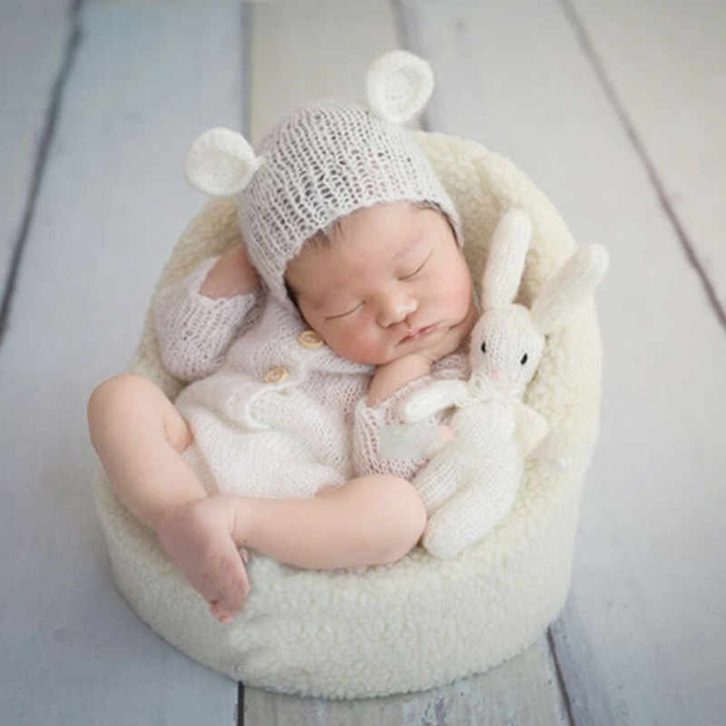 fb36ad7c6 ... Newborn Photo Props Hat Romper Doll 3 Pieces Set Baby Bear Hats White  Infant Shooting Outfits