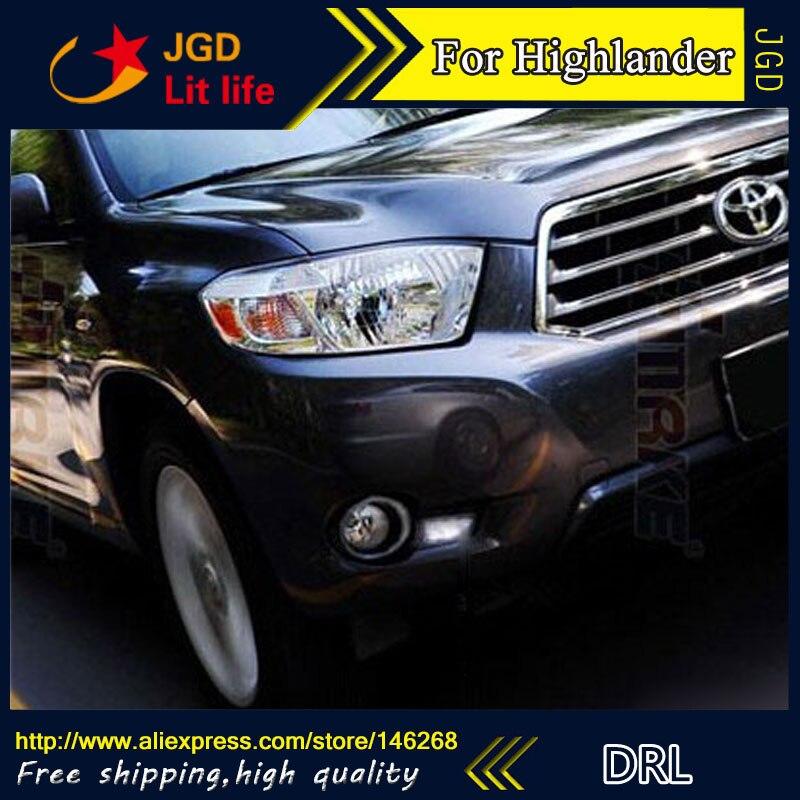 Free shipping ! 12V 6000k LED DRL Daytime running light for Toyota Highlander 2009-2011 fog lamp frame Fog light Car styling