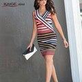 Mulheres Elegante Verão Novo Listrado Colorblock Túnica Vestir Para Trabalhar Business Casual Festa Lápis Bainha Vestido 2186
