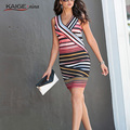 Womens Elegant New Summer Colorblock Striped Tunic Wear To Work Business Casual Party Pencil Sheath Dress 2186