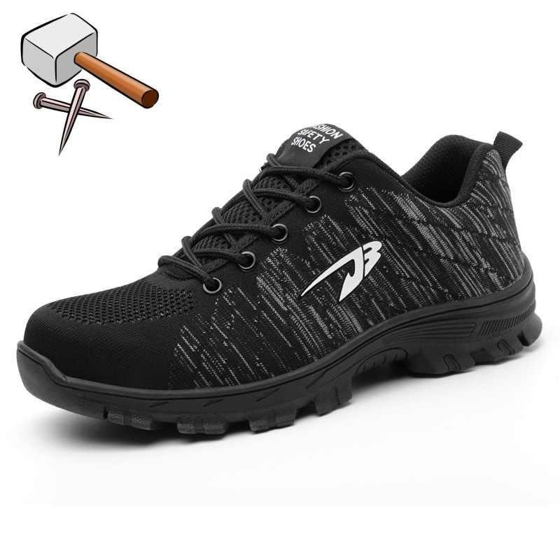 トップ販売ドロップシッピング男性と女性の安全ブーツ屋外通気性の男性鋼つま先穿刺防労働者スニーカー 4 色