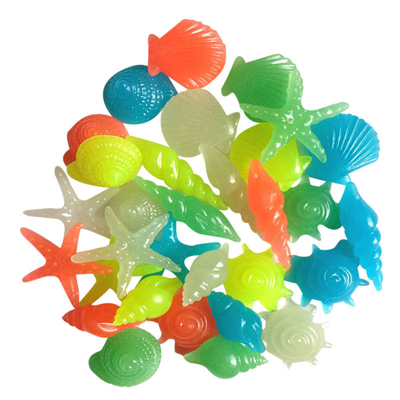 50PCs-Colorful-Luminous-Starfish-Conch-Shell-Shaped-Glowing-Stones-Decorative-For-Garden-Aquarium-Fish-Tank-Pool