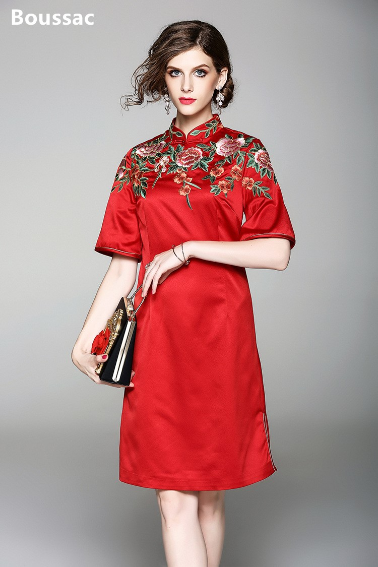 Free shipping Summer original design Chinese style flower Embroidered big size improved cheongsam dress for women