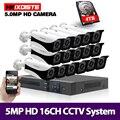 5MP 5 в 1 16CH H.265 + DVR с 16 шт. 5MP HD TVI Smart IR Bullet всепогодные камеры безопасности видео CCTV система Комплект