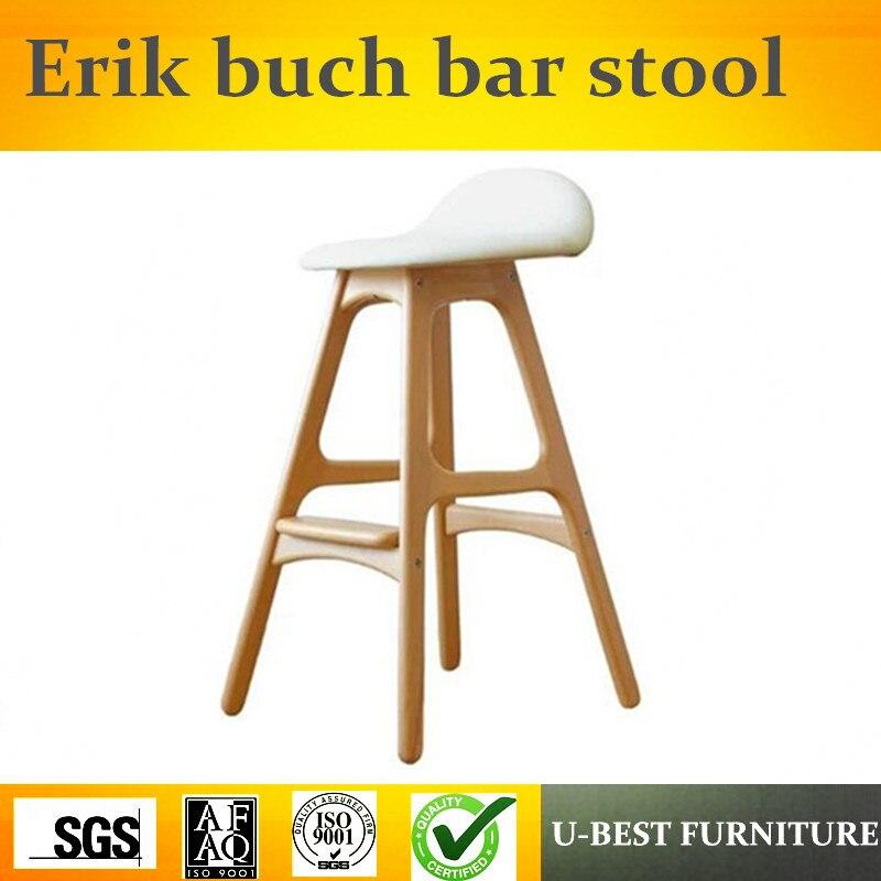 Free Shipping U-BEST  Scandinavian Design Reproduction Erik Buch Home Center Bar Stools,Modern Kitchen Bar Stool Wooden Chair