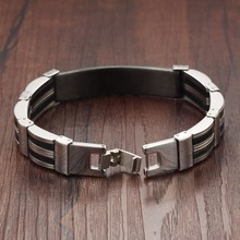 Silicone Titanium Steel Personalized Engrave Bracelets