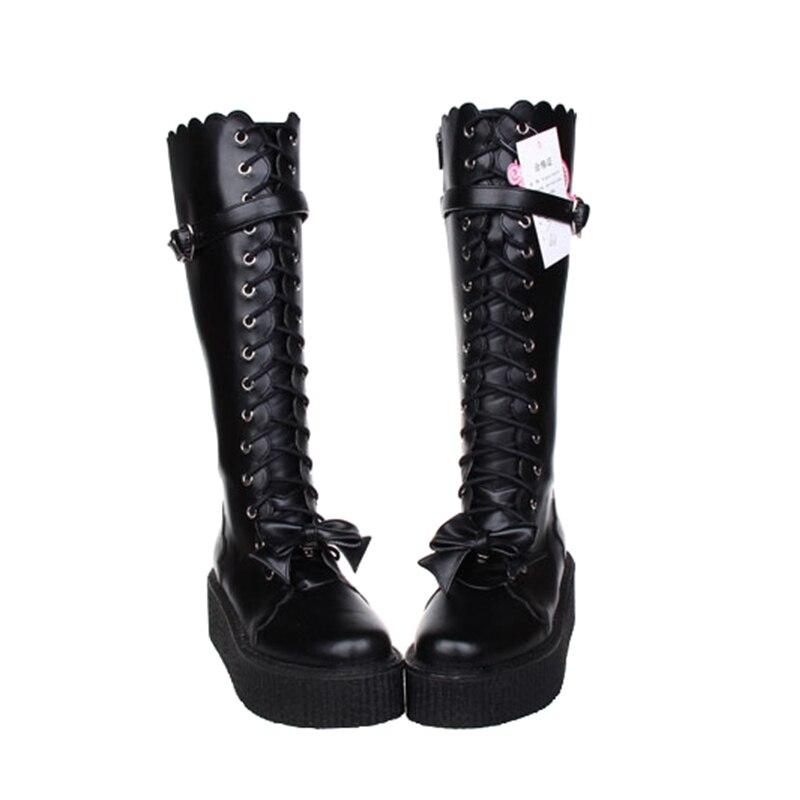 Parti Bottes Mi Talons Angéliques Fille Moto Dame Chaussures Princesse 3540 Noir Mentions Mori Légales Punk Bagatelle Pompes Femmes Lolita Femme Robe DHYWE29I