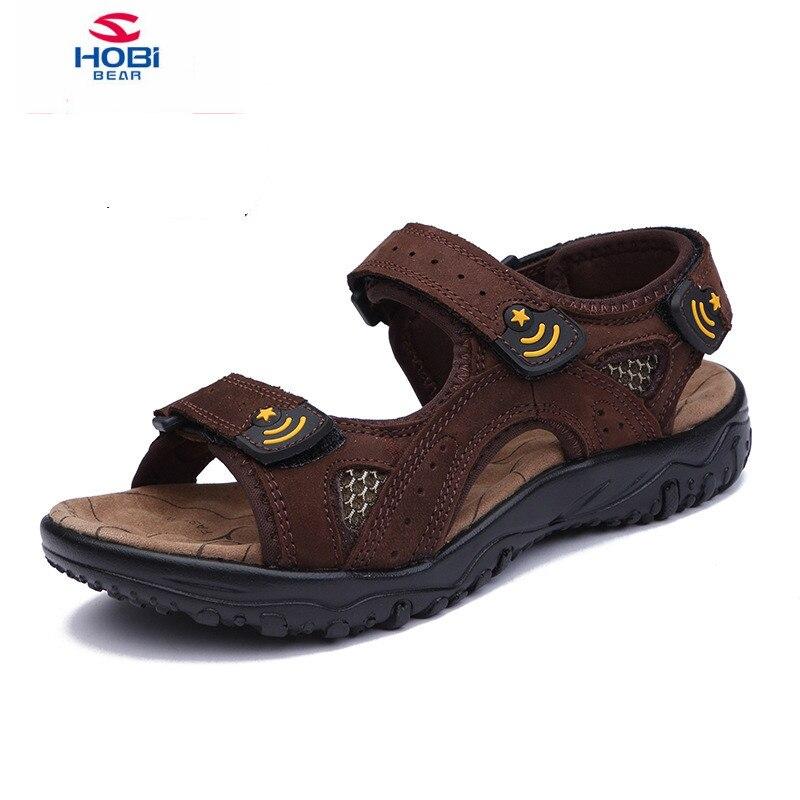 HOBIBEAR 2018 Summer Children Sandals Kids Shoes For Boys genuine leather Sandals kids Beach Shoes Student School Sport sandals
