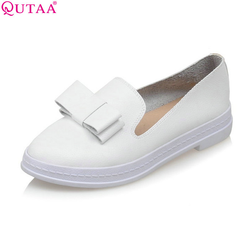 QUTAA 2017 White Square Low Heel Ladies Summer Shoes Bow Tie PU leather Woman Pumps Round Toe Ladies Wedding Shoe Size 34-40 qutaa 2017 ladies summer shoes pointed toe heel woman flat shoes genuine leather bow tie black women ballet flats size 34 39