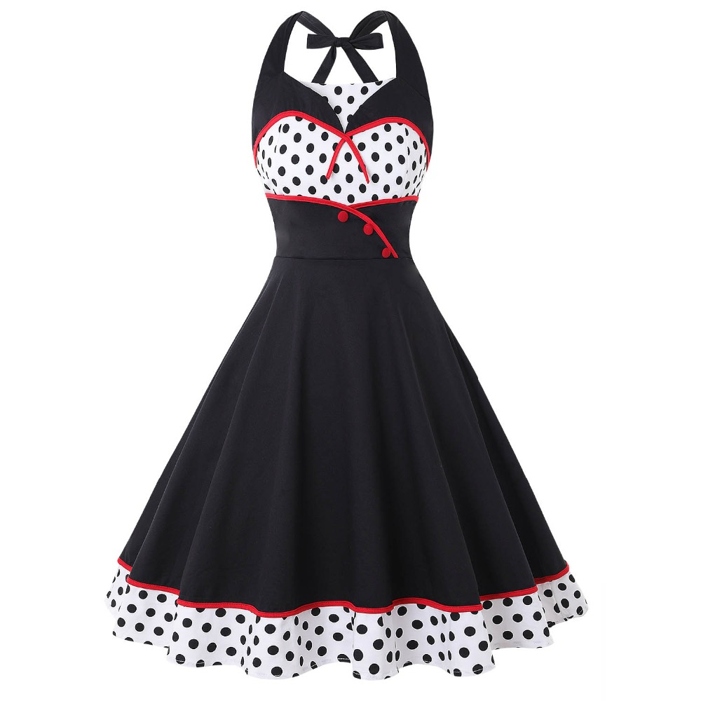 Women Elegant Polka Dots Hater Button Decor Plus Size Party Swing 1950s Vintage Dress