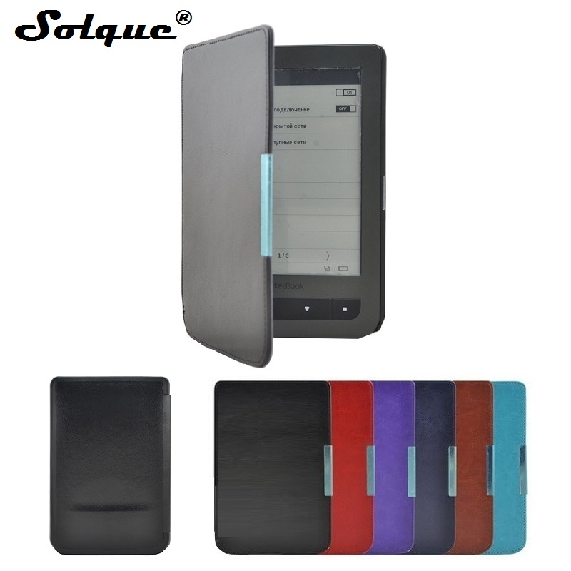 где купить Solque PU Leather eBook Case For Pocketbook 626 Plus Ultra Slim Magnet Flip Cover For Pocket Book Touch Lux 3 e Reader Cases дешево