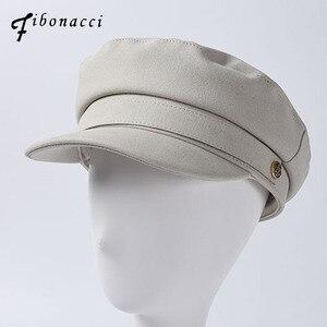 Patente moda Militares Chapéus Xadrez Preto Branco de Alta Qualidade Chapéus Das Senhoras Chapéu Flat Top PU de Couro Osso Capitão Mulheres Boinas