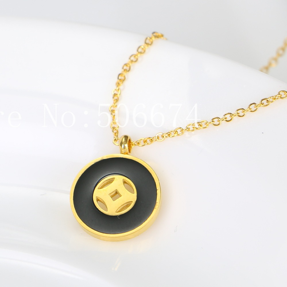 Stainless Steel Choker Cute Ceramics Black Carter Chain Necklace Pendant For Women Lovers Bridesmaid Gifts