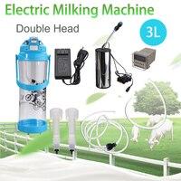 Electric Impulse Portable 3LMilking Machine Double Head Farm Milk Vacuum Pump Bucket Milker 0.8 Gal Barrel Sheep Goat Cow