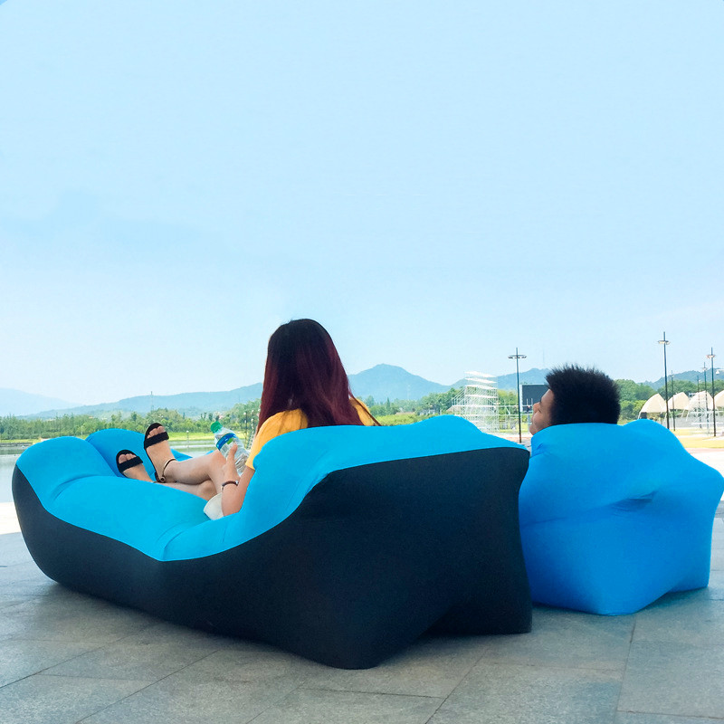 2019 Hot Sale Fast Inflatable Sofa Lazy Bag Sleeping Bag 240*70cm Camping Portable Air Banana Sofa Beach Bed Air Hammock Nylon