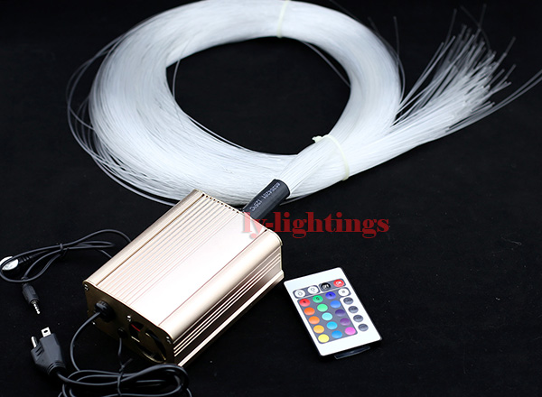 DIY optic fiber light kit led light source+200pcsx0.75mmx2.5m optical cables RGB color change star ceiling light 16W IR remote decoration optical fiber light kit led light engine cables tailpieces fibre optic color change twinkle effect diy stars