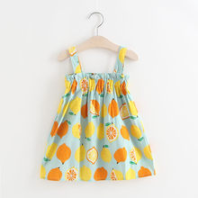Toddler Kids Dresses Girls Cotton Casual Tops Vest Sleeveless Fruit Printing Top Lemon Print Strap Princess Party Sundress Tops(China)