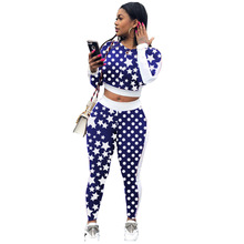2 Piece Outfits for Women Pentagram Polka Dot Print Long Sleeve Top And Long Pants Two Piece Set 2019 Autumn Winter Women Set polka dot print capri pants
