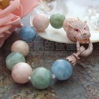 B051112 8'' Big 18MM Round Blue Pink Stone Bracelet