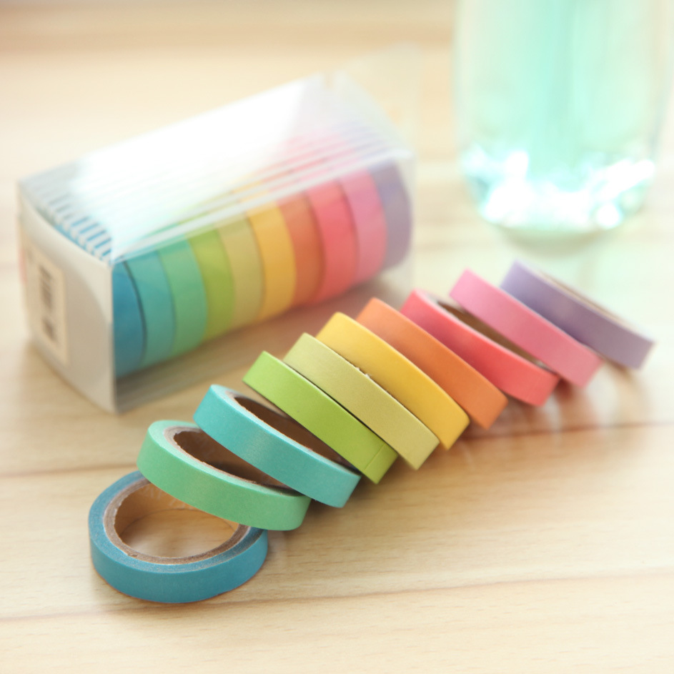 10pics/box Rainbow Solid Color Japanese Masking Washi Sticky Paper Tape Adhesive Printing DIY Scrapbooking Deco Washi Tape Lot