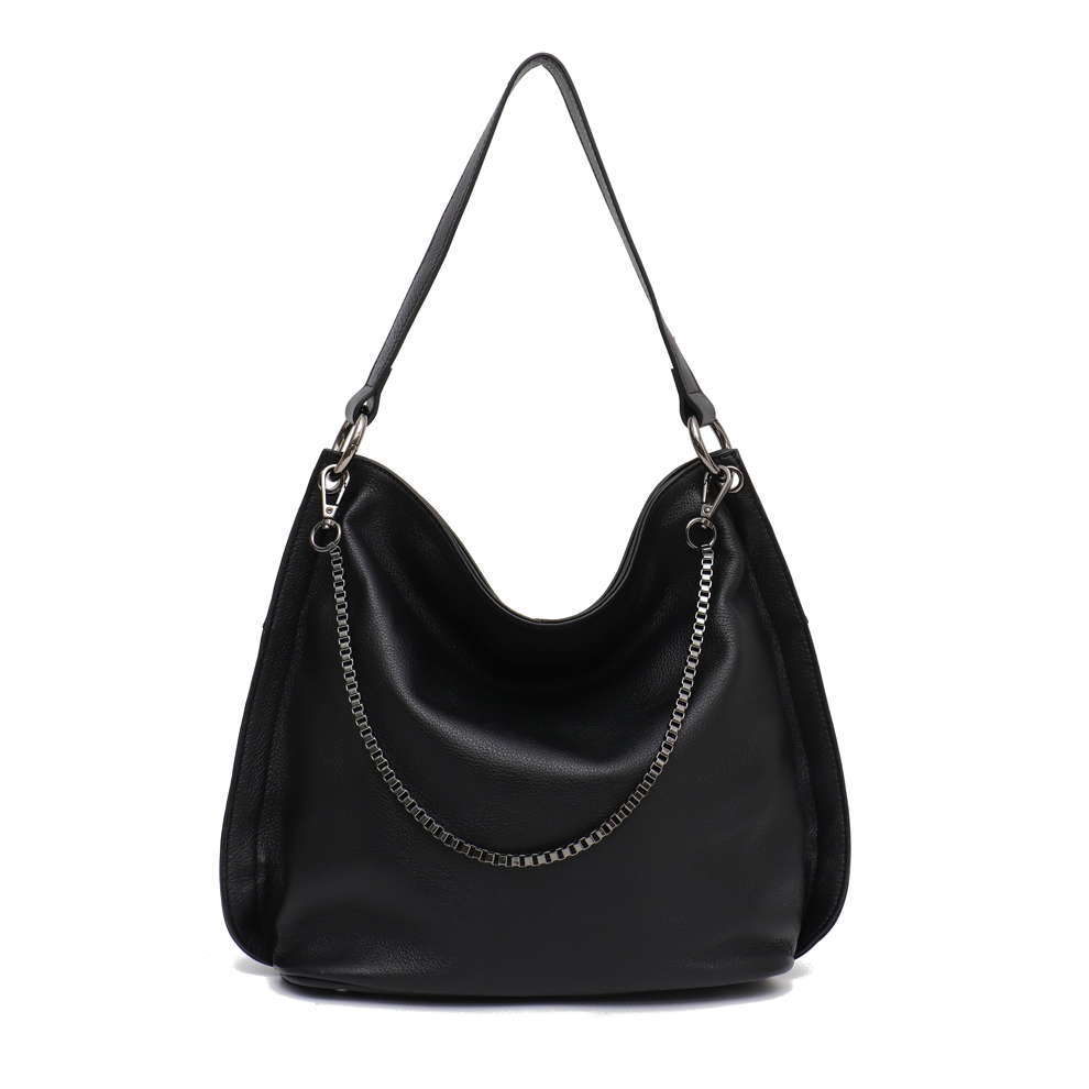0f694f1119361f SC Luxury Brand Designer Leather Hobo Bags for Women Soft Real Genuine Cow  Leather Chains Slouchy Female Shoulder&Crossbody Bag