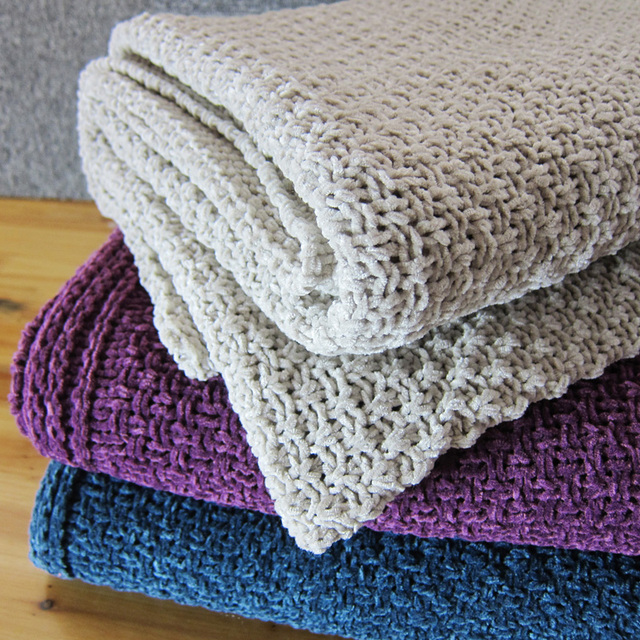 Chenille Knitted blanket air conditioning blanket blankets ... : knitted quilts - Adamdwight.com