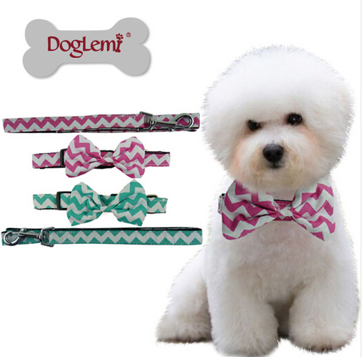 1pcs/lot dogs cats fashion bowknot collar leash suits puppy top quality collar leads sets pets products doggy supplies S M L