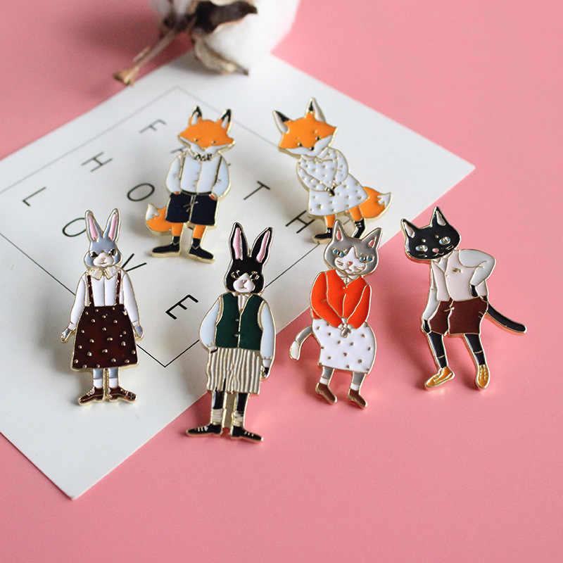 Sevimli kedi tavşan tilki emaye broş Pin toptan yaka korsaj kollukları giyim moda takı aksesuarları