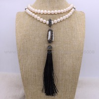2Pcs Natural Pearl Necklace Bead Chain With Pearl Long Silk Tassel Pandent Necklace Long Necklace Jewelry