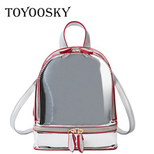 TOYOOSKY Korean Style Shoulder Bag Women Tide Laser Mini Backpacks Candy Color Student Small Backpack Summer Travel Rucksack
