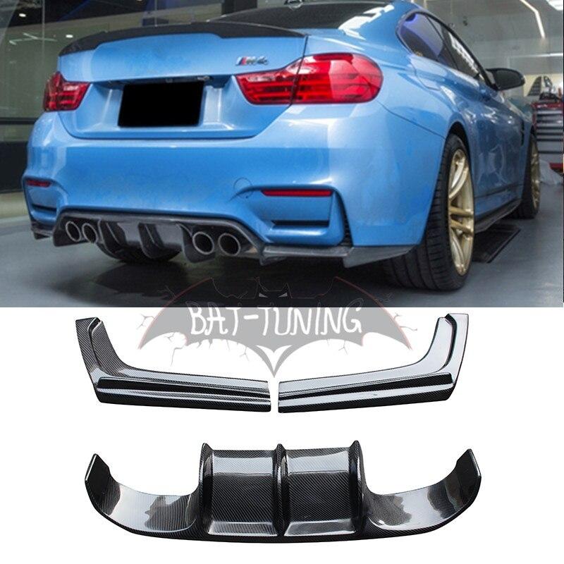 V Estilo Fibra De Carbono Difusor Para BMW F80 M3 F82 F83 M4 Conversível Traseiro Protetor Pára Difusor Vorsteiner 2012 +