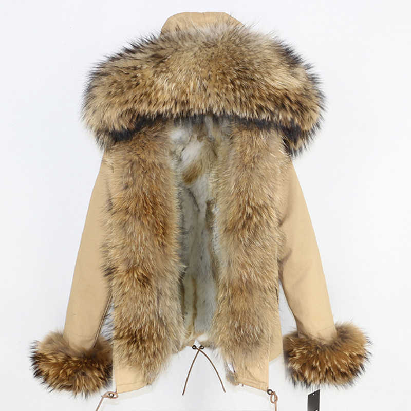 OFTBUY 2019 Echt Pelzmantel Winter Jacke Frauen Kurze Parka Natürliche Waschbären Pelz Kragen Dicke Warme Kaninchen Pelz Liner Abnehmbaren neue