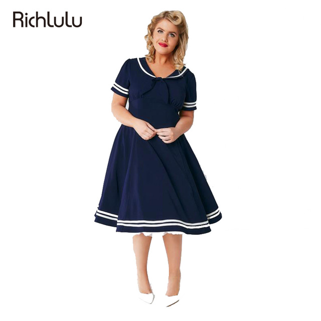 RichLuLu New Preppy Style Plus Size Women Clothing Navy Blue Sailor Collar With Bow Front Dress Big Size A-Line Dress 3XL-7XL