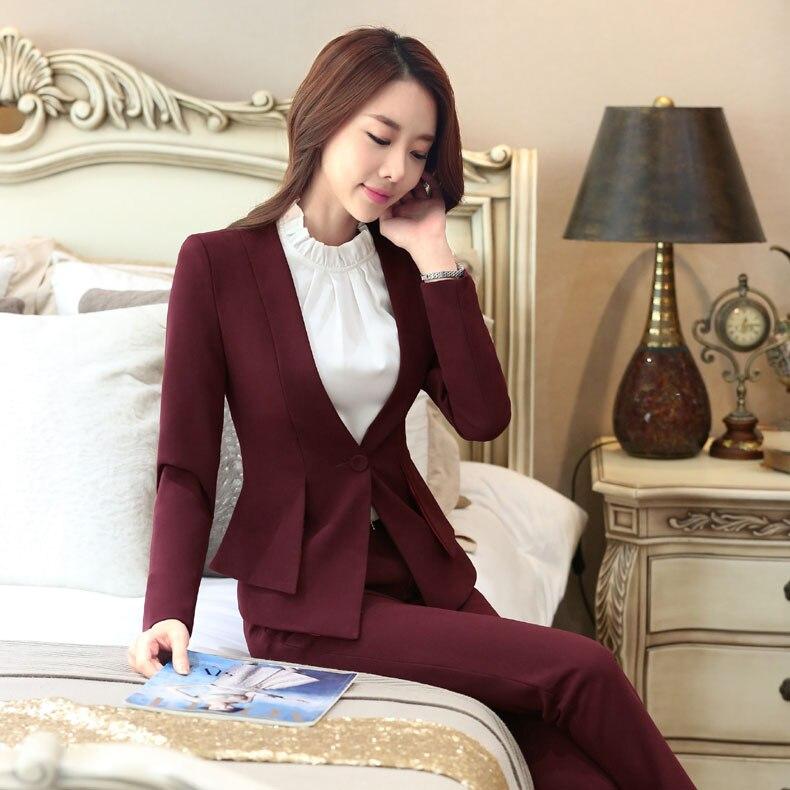 Click here to Buy Now!! Nouveauté Vin Formelle Professionnel Blazers  Travail Costumes Avec Vestes Et Pantalons Slim Mode Femmes D 6c8f90a24968