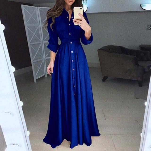 Lovely button down dress, cuff sleeve, floor length 4