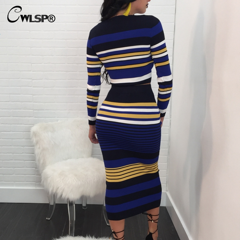 Casual Two piece set Knitted Striped dress Ribbed 4
