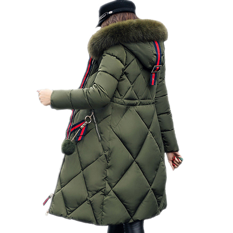 Winter Coat Down-Jacket Parka Women Slim Thickened Long Cotton Ladies Stitching Big-Fur