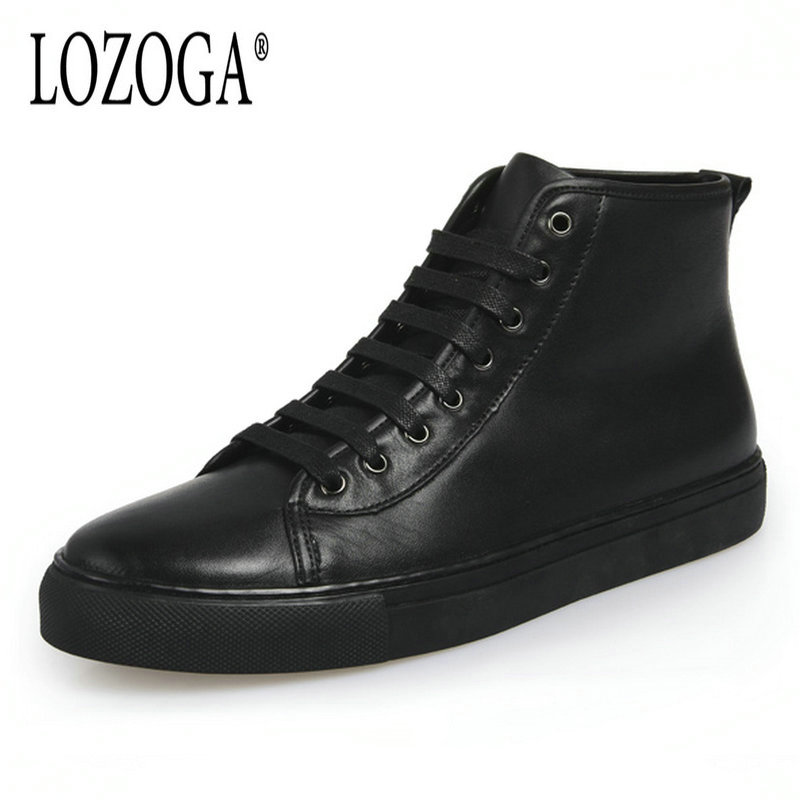 LOZOGA Lace Up Hight Quality 100% Genuine Leather Men Ankle Boots Italian Real Leather Men Boots Black Men Winter Shoes With Fur lozoga new men shoes fashion boots ankle 100