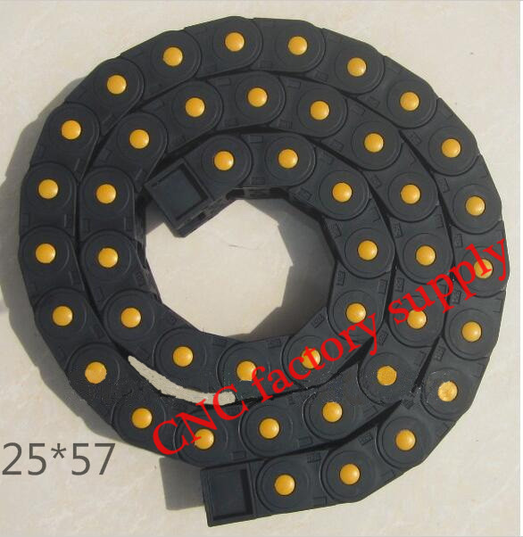 Free Shipping  1M 25*57 mm  Plastic Cable Drag Chain For CNC Machine,Fully Closed Type ,PA66 semi closed 25x50mm cable drag chain wire carrier with end connectors plastic towline for cnc router machine tools 1000mm