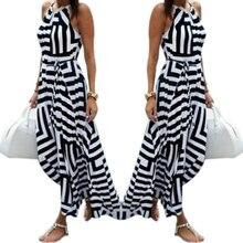 1Pc Long Dress Elegant Women Halter Neck Black White Striped  Sleeveless Chiffon Casual Long Dress #32942
