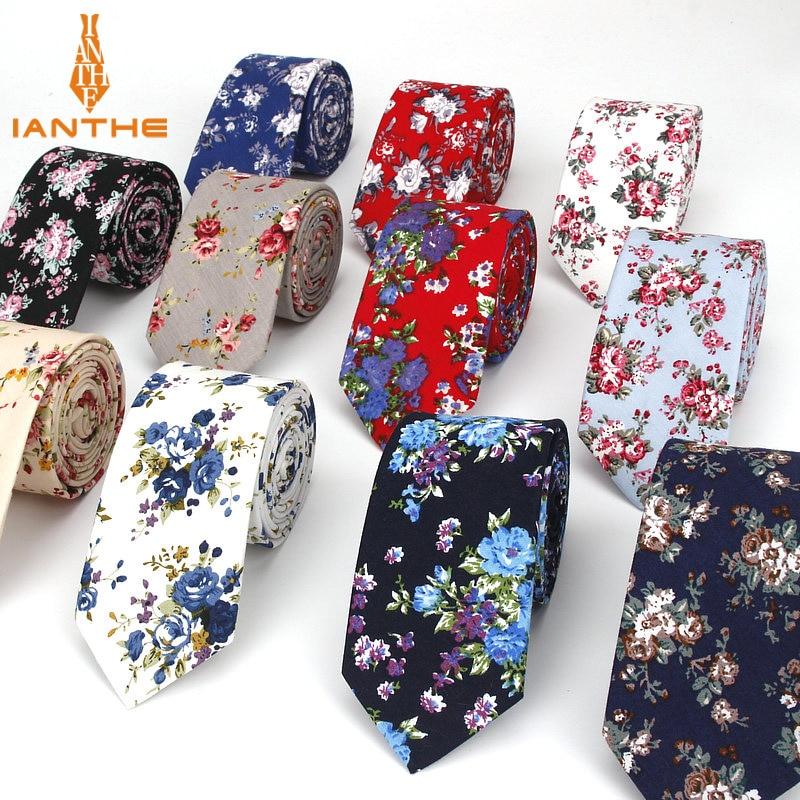 Brand New Classic Men's Floral Ties Fashion Cotton Neck For Men Corbatas Slim Suits Necktie Party Ties Vintage Printed Gravatas