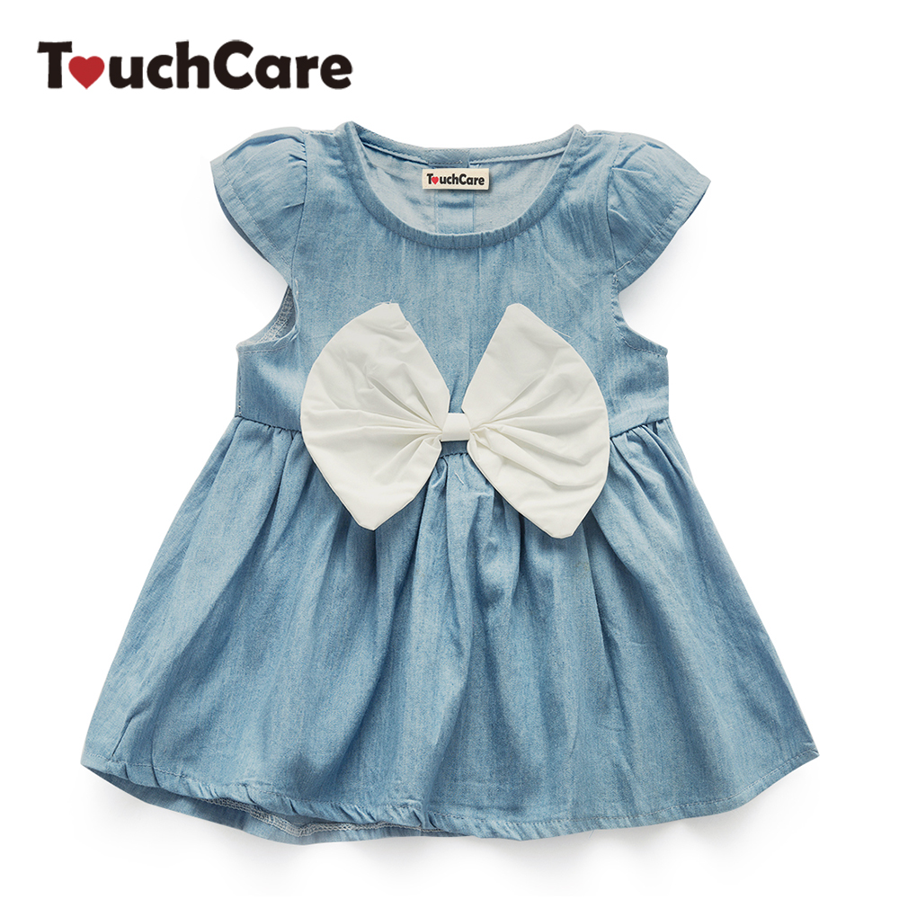 TouchCare Bow Knot Baby Girls Dress Children Denim Dresses Summer Fashion Short Sleeve Solid Party Princess Dress Kids Clothes