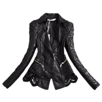 New Lady Autumn Fashion brand Jacket Lace Patchwork Slim Women Jacket Pu Leather V neck Short Outwear jacket