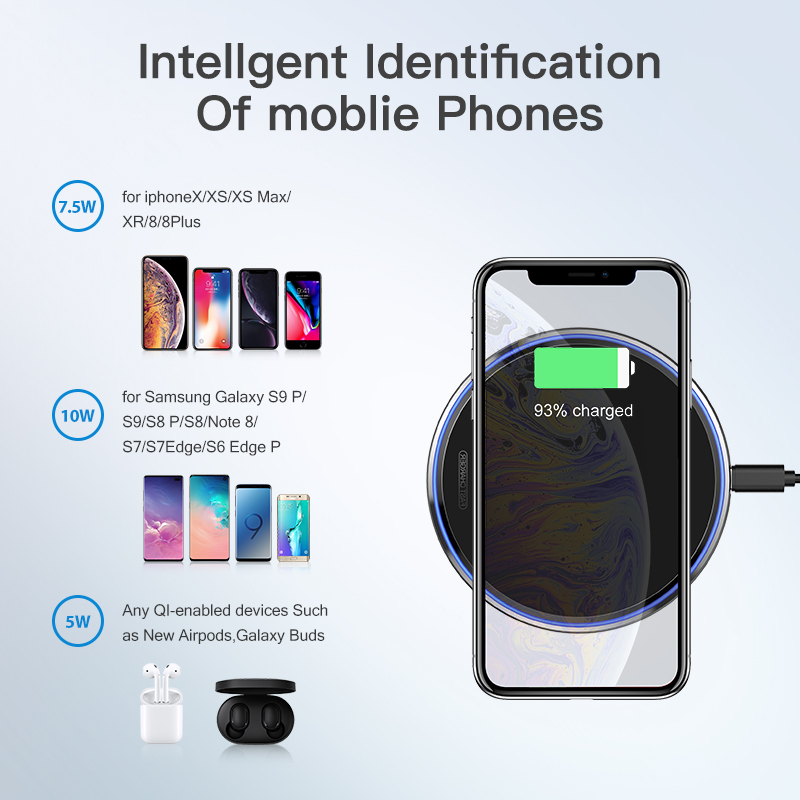 Image 5 - KUULAA 10W Qi Wireless Charger For iPhone X/XS Max XR 8 Plus Mirror Wireless Charging Pad For Samsung S9 S10+ Note 9 8-in Wireless Chargers from Cellphones & Telecommunications