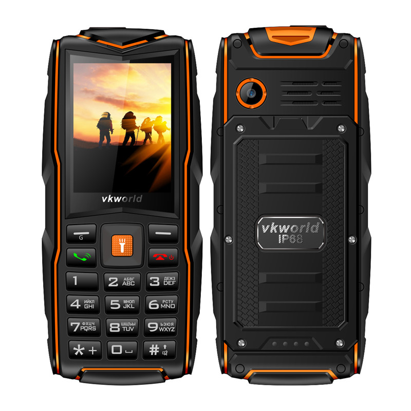 Original VKWorld New Stone V3 IP68 Waterproof 2.4 inch Mobile Phone GSM FM Russian Keyboard 3 SIM Cards Slot 3000mAh Cellphone