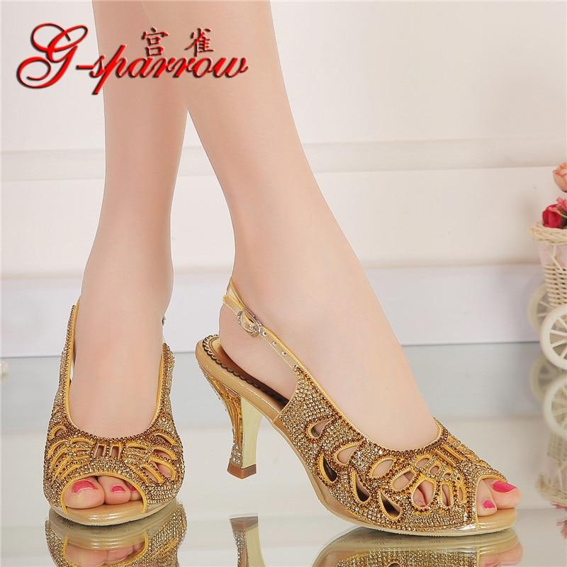 G-SPARROW 2018 New Summer Peep Toe Stiletto Sandals Sexy Female High-heeled Diamond Sandal Gold Wedding Shoes For Bride жесткий диск hgst travelstar z5k1 1tb 1w10028